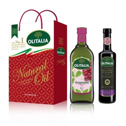 (全館單筆滿500,限台灣本島免運費;滿1500再送滿額禮。)葡萄籽油(1L)+巴薩米克醋(500ml) 禮盒組