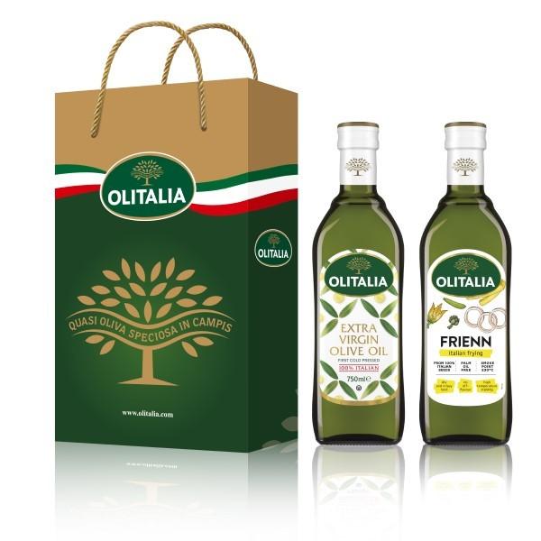 (全館單筆滿500,限台灣本島免運費;滿1500再送滿額禮。)特級初榨橄欖油 750ml + 高溫專用葵花油 750ml  禮盒組