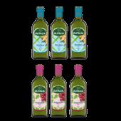 (全館單筆滿500,限台灣本島免運費;滿1500再送滿額禮。)玄米油1L+葡萄籽油1L(各3瓶)(熱銷商品)