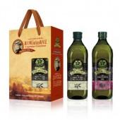 (全館單筆滿500,限台灣本島免運費;滿1500再送滿額禮。)喬凡尼(老樹純橄欖油 1L + 葡萄籽油1L) 禮盒